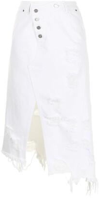Sjyp Distressed Denim Midi Skirt