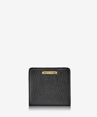 GiGi New York Mini Foldover Wallet, Black Pebble Grain