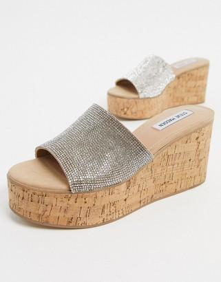 Steve Madden Desiree cork flatform sandals in rhinestone