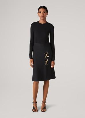 St. John Viscose Milano Knit Chain and Grommet Skirt