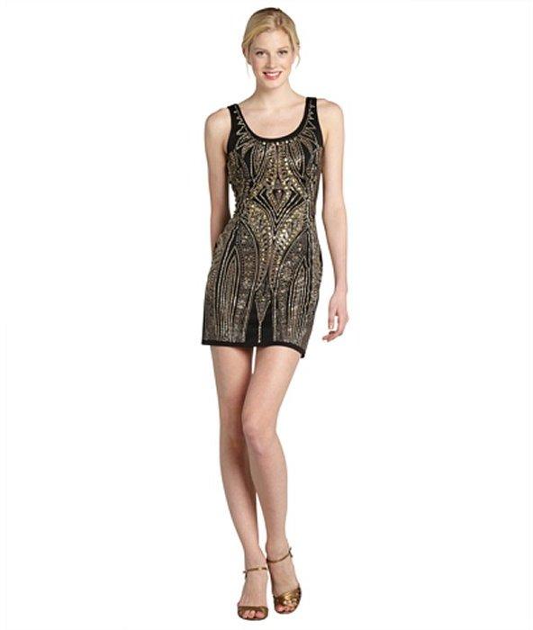 Wyatt black and gold sleeveless fitted beaded evening dress
