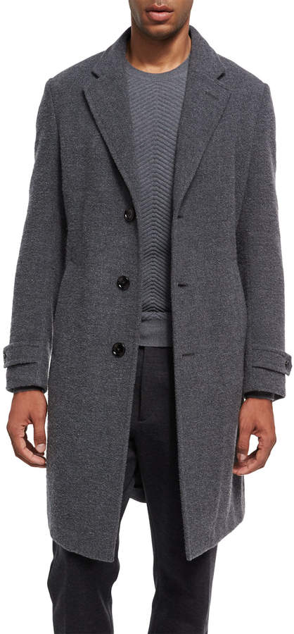 Ermenegildo Zegna Four-Button Cashmere Boucle Overcoat