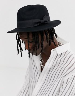 Asos Design DESIGN fedora hat in black