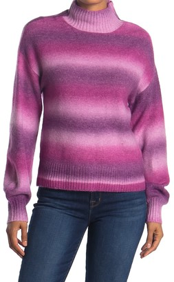 Love by Design Ombre Stripe Print Turtleneck Sweater