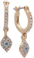lonna & lilly Gold-Tone Pave Mini Hoop Drop Earrings