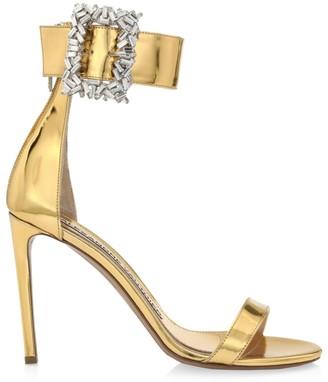 Alexandre Vauthier Blanca Crystal-Embellished Metallic Leather Sandals