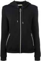 Versace embossed logos zip up hoodie - women - Cotton/Polyamide/Spandex/Elastane - 44