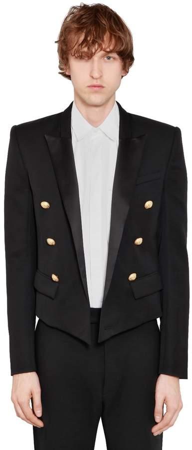 Balmain 6 Button Wool Spencer Jacket W/ Satin