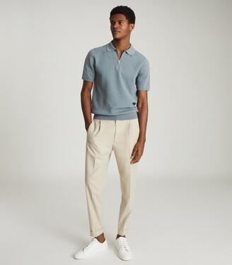 Reiss Emilio - Textured Zip Neck Polo Shirt in Airforce Blue