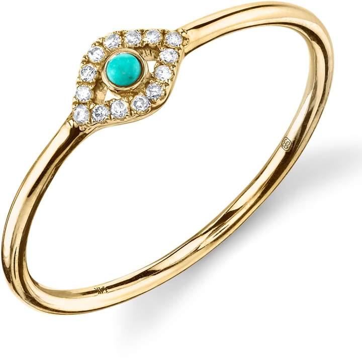 Sydney Evan Turquoise Diamond Evil Eye Gold Ring