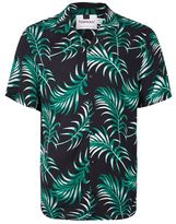 Topman Green and Black Palm Print Short Sleeve Casual Shirt