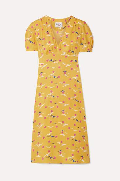 HVN Paula Printed Silk Crepe De Chine Dress - Yellow