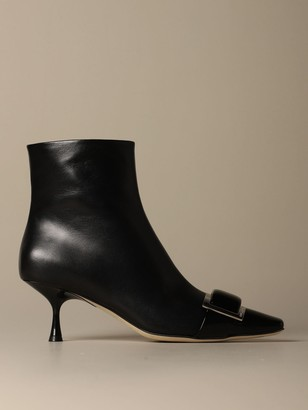 Sergio Rossi Flat Booties Sr1 Ankle Boot In Leather