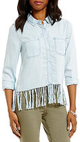 Chelsea & Theodore Point Collar Long Sleeve Button Front Fringe Blouse