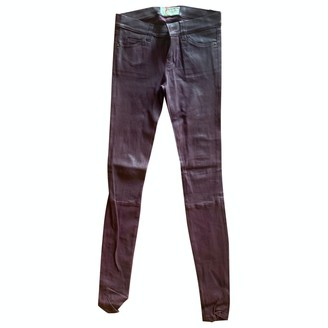 Current/Elliott Current Elliott Burgundy Leather Trousers for Women