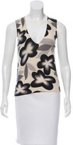 John Galliano Floral Print Cashmere Top