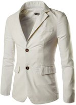 uxcell Allegra K Man Notched Lapel Padded Shoulders Two-Button Placket Blazer Ivory XL