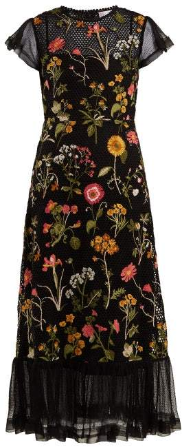 RED Valentino Floral-embroidered Cotton-mesh Dress - Womens - Black Multi