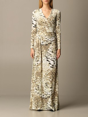 Roberto Cavalli Long Lycra Dress With Animal Print Feathers