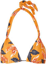 Vix Tulum Floral-print Triangle Bikini Top - Orange