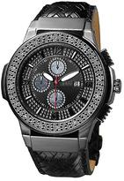 JBW Black Saxon Leather-Strap Watch - Men