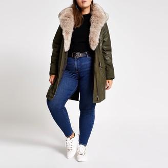 River Island Womens Plus Khaki long sleeve faux fur parka coat