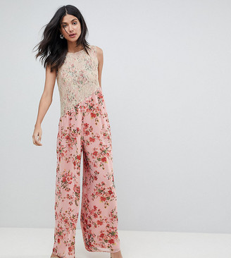ASOS TALL Jumpsuit in Soft Floral with Lace Bodice Detail