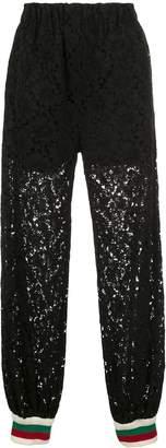 Gucci rebrodé flower lace track pants