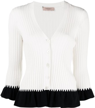 Twin-Set Contrast-Trimmed Ribbed-Knit Cardigan