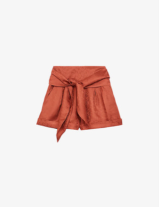 The Kooples Waist-tie jacquard silk-satin shorts