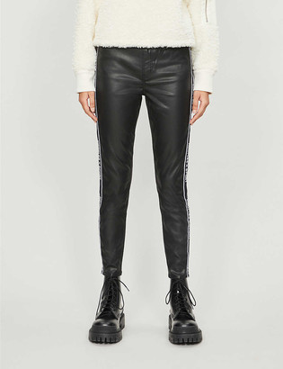 The Kooples Sport Logo-trim straight-leg waxed high-rise jeans