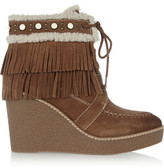 Sam Edelman Kemper Faux Shearling-Lined Fringed Suede Wedge Boots