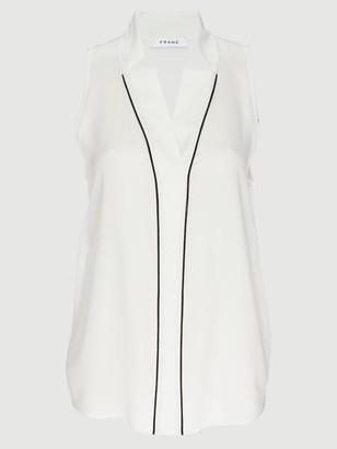 Frame Silk Sleeveless Notch Collar