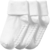 Joe Fresh Toddler Girls' 3 Pack Cuffed Socks, White (Size 1-3)