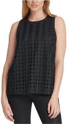 DKNY Geometric Lace Sleeveless Top