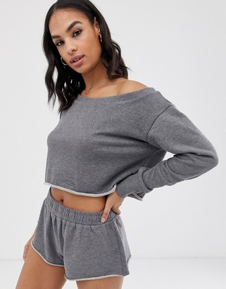 South Beach off the shoulder gray sweat top