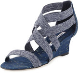 Manolo Blahnik Glassa Crisscross Wedge Sandal, Denim