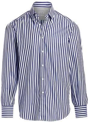 Brunello Cucinelli Striped Button Collar Shirt