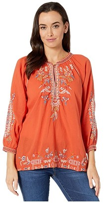 Johnny Was Ellington Tie Back Blouse (Hot Orange) Women's Clothing