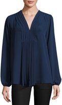 Max Studio Pleat-Front Long-Sleeve Blouse, Navy