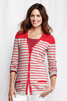 Lands' End Women's Petite Year Round Cashmere Cardigan Sweater-Coral Sunset Stripe