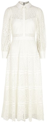 Alice + Olivia Anaya ivory lace midi shirt dress