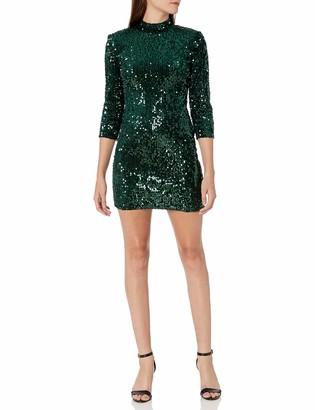 Donna Morgan Women's Stretch Velvet Sequin Mock Neck Mini Dress