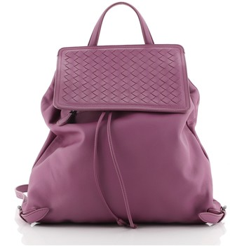 Bottega Veneta Drawstring Flap Front Zip Backpack Leather with Intrecciato