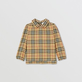 Burberry Childrens Peter Pan Collar Vintage Check Cotton Blouse