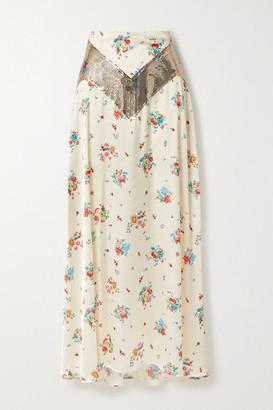 Paco Rabanne Chainmail-trimmed Floral-print Satin Maxi Skirt - Cream