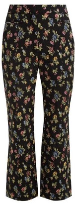 Erdem Valary Floral Jacquard Cropped Trousers - Womens - Black Multi