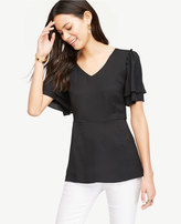 Ann Taylor Double Flutter Top