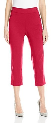 Briggs New York Women's Superstretch Pull On Capri with Sailor Button Detail