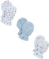SpaSilk Blue & White Three-Pair Mitten Set